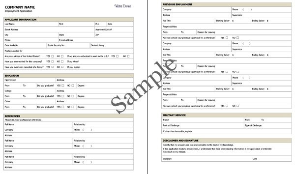 Employment Application Sample  PDF   Click on image to see larger size    Employment Application Sample