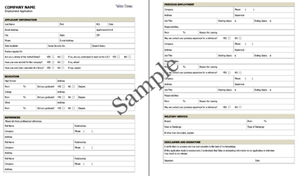 Employment Application Sample (PDF). Click on image to see larger size in a new window.