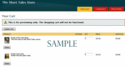 WEBS DIVINE: Online Store Shopping Cart Sample. Click on image to see larger size in a new window.